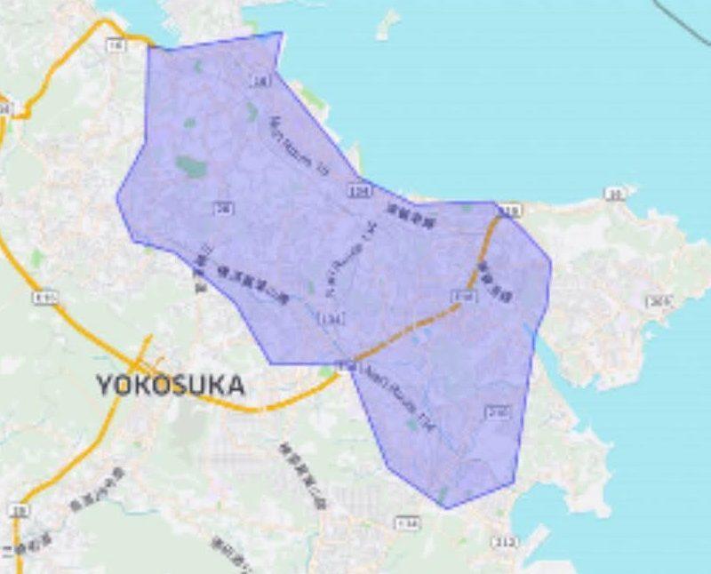 横須賀の配達エリア